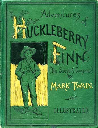 Adventures of Huckleberry Finn. (Tom Sawyer's comrade). By Mark Twain. With one hundred and seventy-four illustrations. New York, Charles L. Webster and Company, 1885. SPECIAL COLLECTIONS: PS1305 .A1 1885c: Copy 1: Original pictorial green cloth. Numerous newspaper clippings pasted inside both covers. Gift of Dr. Wilbur P. Morgan of Baltimore. Small Special Collections Library, University of Virginia. All rights reserved.